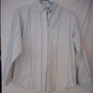 Vintage Blue Pink Striped button down shirt